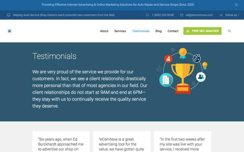 Screenshot of Testimonials Page ecommnow.com - Section: Testimonials | Online Marketing for Small Businesses - captured July 24, 2018