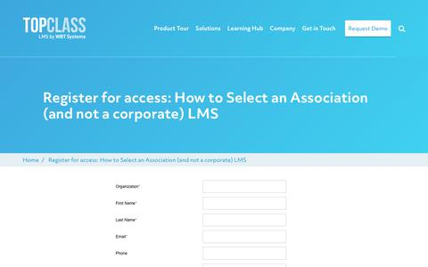 Screenshot of Trial Page wbtsystems.com - Register for access: How to Select an Association (and not a corporate) LMS | WBT Systems - captured Jan. 11, 2020