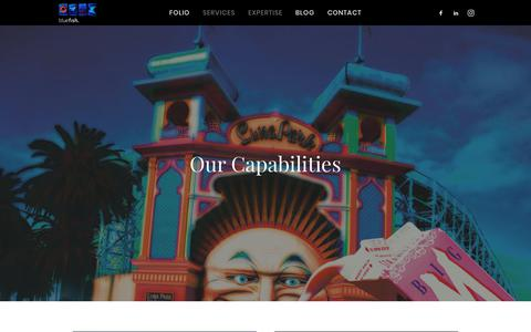 Screenshot of Services Page bluefish.com.au - Capabilities - Bluefish Productions - captured Oct. 6, 2018