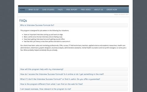Screenshot of FAQ Page interviewsuccessformula.com - FAQs   Interview Success Formula - captured Aug. 6, 2016