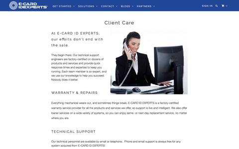 Screenshot of Support Page idexperts.com - Client Care - E-CARD IDEXPERTS® - captured Sept. 29, 2016