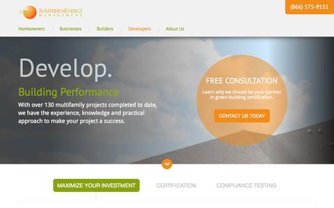 Screenshot of Developers Page southern-energy.com - Develop - Southern Energy Management - captured Nov. 4, 2014