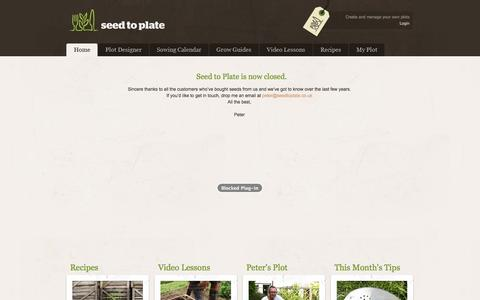 Screenshot of Home Page seedtoplate.co.uk - Organic Vegetable Seeds || Seed to Plate - Grow your own vegetables from seed - captured Dec. 18, 2014
