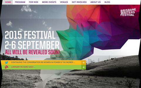 Screenshot of Home Page bwf.org.au - Brisbane Writers Festival - captured Sept. 24, 2014
