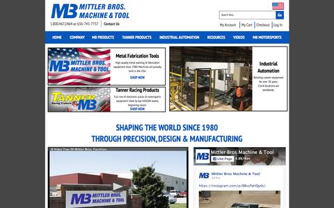 Screenshot of Home Page mittlerbros.com - Metal Working Tools & Metal Fabrication Equipment by Mittler Bros. - captured Feb. 14, 2016