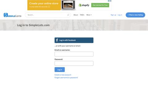 Screenshot of Login Page simplelots.com - SimpleLots.com - The World's Easiest Marketplace To Sell Wholesale - captured April 30, 2017