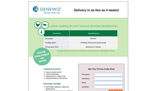 Screenshot of Landing Page genewiz.com - GENEWIZ X Ten Offers - captured Aug. 13, 2016