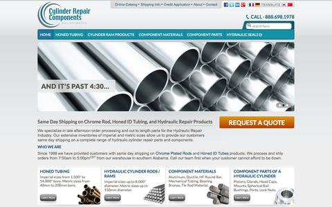 Screenshot of Home Page crconline.com - Hydraulic Cylinder Repair Parts - Honed ID Tubing - Chrome Plated Rods | Cylinder Repair Components, Inc. - captured Oct. 3, 2014