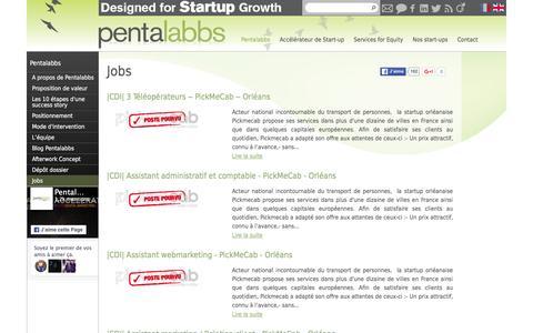 Screenshot of Jobs Page pentalabbs-incubateur.fr - Jobs | Pentalabbs - captured Jan. 23, 2016