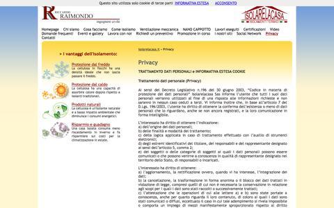 Screenshot of Privacy Page isolarelacasa.it - Privacy | Isolare la casa - Cellulosa in fiocchi - captured Nov. 19, 2016
