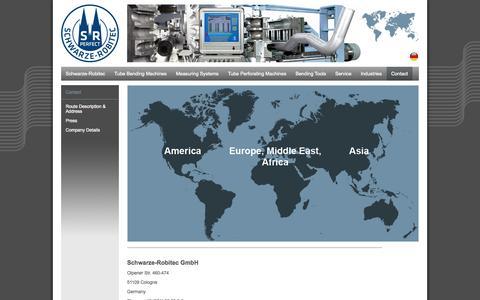 Screenshot of Contact Page schwarze-robitec.com - Contact  Schwarze-Robitec GmbH - captured Oct. 4, 2014