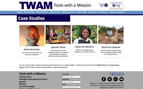 Screenshot of Case Studies Page twam.uk - Tools with a Mission | Case Studies - captured May 7, 2017