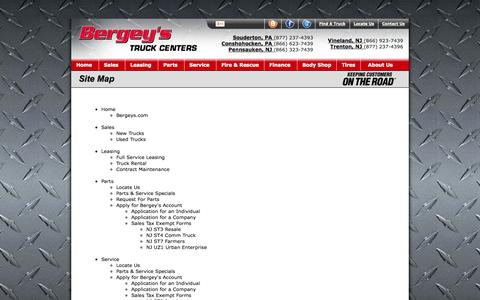 Screenshot of Site Map Page bergeystruckcenters.com - Bergey's Truck Center: Bergey's Truck Center Site Map - captured Sept. 30, 2014