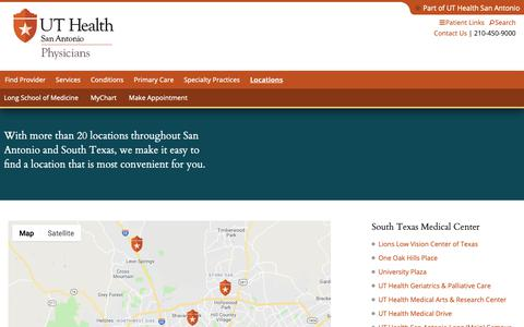 Screenshot of Locations Page Maps & Directions Page uthscsa.edu - Locations | UT Health San Antonio - captured Dec. 10, 2018