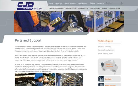 Screenshot of Support Page cjd.com.au - Earthmoving  Equipment Parts   Truck Parts Australia   Support - CJD Equipment - captured Oct. 1, 2014