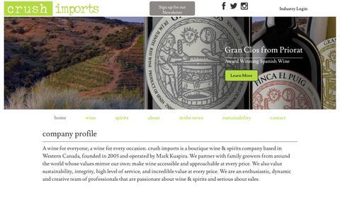 Screenshot of Home Page crushimports.com - Home  |  Crush Imports - captured May 23, 2017