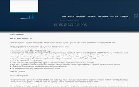 Screenshot of Terms Page pharmapal.ae - Terms & Conditions – Pharmapal Middle East - captured July 17, 2018