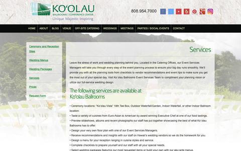 Screenshot of Services Page koolauballrooms.com - Ko'olau Ballrooms & Conference Center » Honolulu Wedding Services - captured Oct. 15, 2018