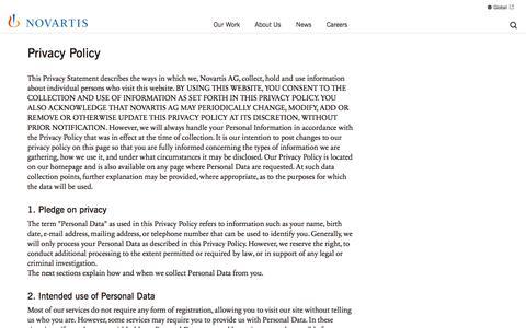 Screenshot of Privacy Page novartis.com - Privacy Policy | Novartis Indonesia - captured May 19, 2017