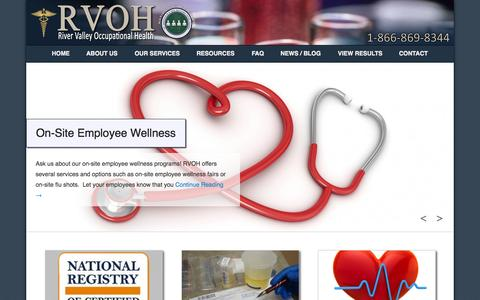 Screenshot of Home Page Menu Page rvoh.net - River Valley Occupational Health - Drug Testing - Russellville, Arkansas - captured Oct. 9, 2014