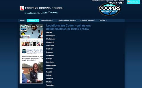 Screenshot of Locations Page coopers-driving-school.com - Locations | Driving School Worcestershire | Coopers Driving School | Automatic - captured March 11, 2016