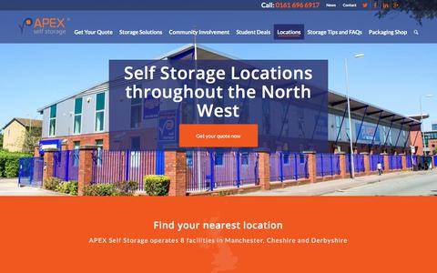 Screenshot of Contact Page Locations Page apexselfstorage.co.uk - Apex Self Storage branch locations - captured Oct. 8, 2017