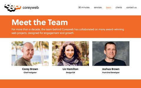 Screenshot of Team Page coreyweb.com - Meet the Team – coreyweb - captured March 1, 2017