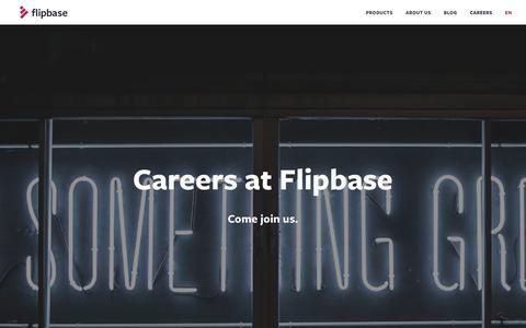 Screenshot of Jobs Page flipbase.com - Careers - Flipbase - captured Aug. 15, 2018