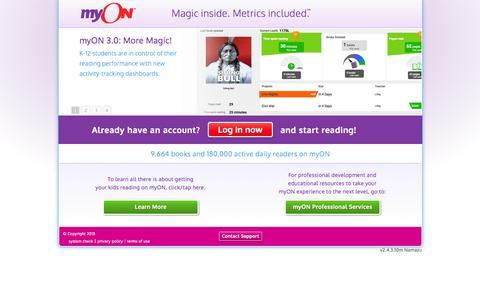 Screenshot of Home Page myon.com - myON® - captured Aug. 4, 2015