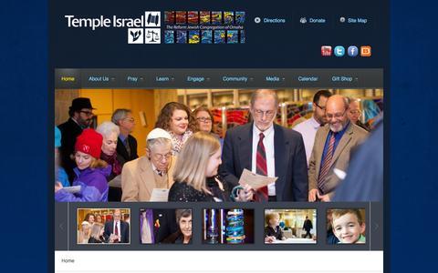 Screenshot of Home Page templeisraelomaha.com - Temple Israel, Omaha, Nebraska | Home - captured Jan. 29, 2015