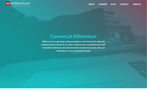 Screenshot of Jobs Page mill-im.com - Careers at Millennium Integrated Marketing - captured Feb. 27, 2016