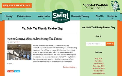Screenshot of Blog mrswirl.com - Blog | Mr. Swirl the Friendly Plumber | Vancouver, BC - captured July 10, 2018