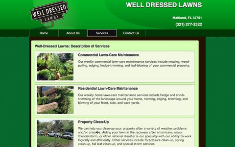 Screenshot of Services Page welldressedlawns.com - WELL DRESSED LAWNS Maitland Lawn Services - captured Jan. 10, 2016