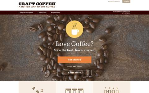 Screenshot of Home Page craftcoffee.com - Coffee Subscription, Fresh Roasted, Delivered to You | Craft Coffee - captured Dec. 1, 2015