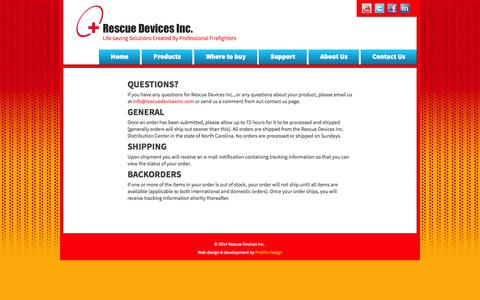 Screenshot of Support Page rescuedevicesinc.com - Support | Rescue Devices Inc. - captured Oct. 8, 2014