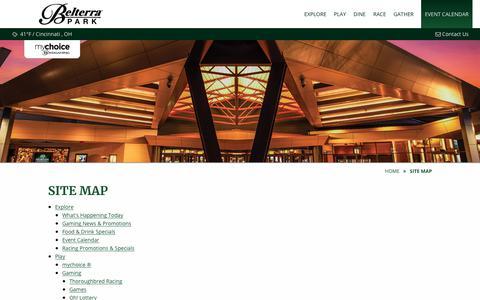 Screenshot of Site Map Page belterrapark.com - Website Map | Belterra Park Gaming - captured Nov. 13, 2018