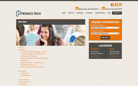 Screenshot of Site Map Page penncotech.edu - Site Map - Pennco TechPennco Tech - captured July 12, 2016