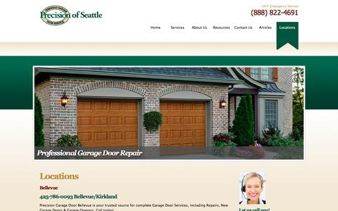 Screenshot of Locations Page garagedoorseattle.com - Locations - captured Nov. 10, 2016