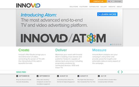 Screenshot of Home Page innovid.com - The Leader in Interactive Online Video Advertising | Innovid - captured Sept. 10, 2014
