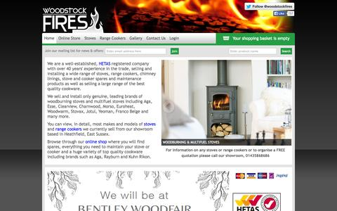 Screenshot of Home Page woodstockfires.co.uk - Woodstock Fires | Stoves & Range Cookers | Sussex & Kent - captured Sept. 26, 2014
