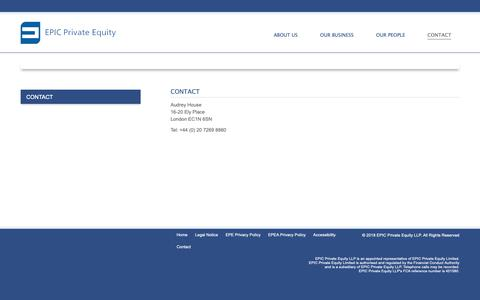 Screenshot of Contact Page epicprivateequity.com - Contact - EPIC Private Equity - captured Dec. 7, 2018