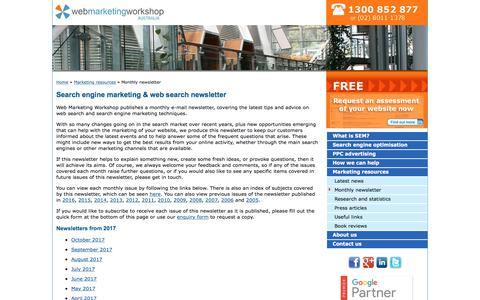 Screenshot of Signup Page webmarketingworkshop.com.au - Search Engine Marketing Newsletter, Web Search News, Tips & Advice: Web Marketing Workshop, Sydney, Australia - captured Oct. 19, 2017