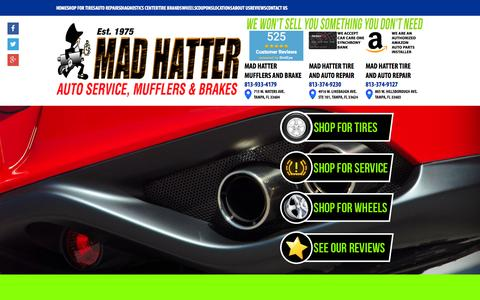 Screenshot of Home Page madhatterexhaust.com - Tampa FL Auto Repair & Tires | Mad Hatter Mufflers and Brake - captured June 18, 2015