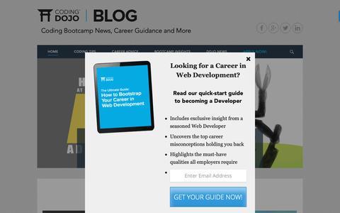 Screenshot of Blog codingdojo.com - Coding Bootcamp News & Career Guidance | Coding Dojo Blog - captured March 29, 2019