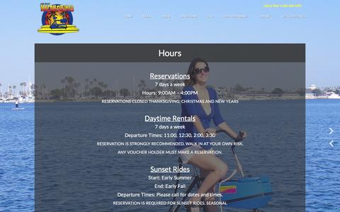 Screenshot of Hours Page lbhydrobikes.com - Hours - Long Beach Hydrobikes - captured Feb. 1, 2016