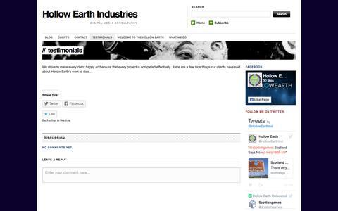Screenshot of Testimonials Page hollowearthindustries.com - Testimonials | Hollow Earth Industries - captured July 14, 2016