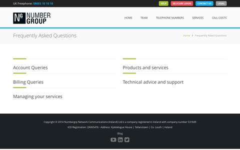 Screenshot of FAQ Page numbergroup.com - Frequently Asked Questions - The home of business telecoms | Numbergroup - captured Oct. 6, 2014