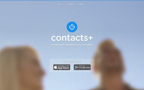 Screenshot of Home Page contactspls.com - Contacts+ - a beautiful Address book for Android and iPhone - captured Sept. 13, 2014