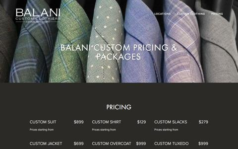 Screenshot of Pricing Page balanicustom.com - BALANI Custom Clothing Packages |  BALANI Custom Clothiers - captured Oct. 11, 2016