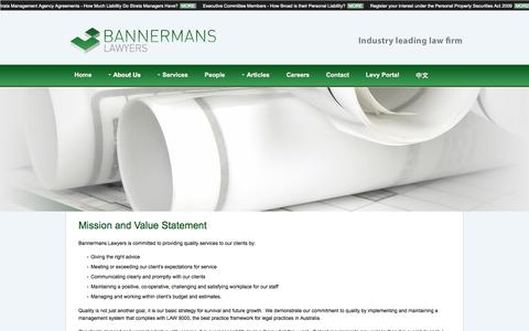 Screenshot of About Page bannermans.com.au - Bannermans Lawyers - Mission and Value Statement - captured Oct. 5, 2014